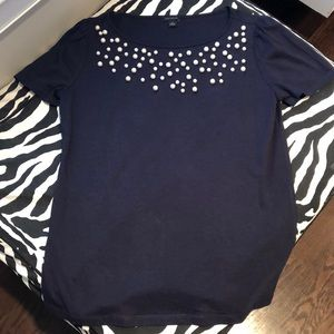 Ann Taylor Pearl Embellished Tee